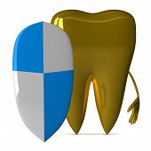 foto of gold tooth  - Golden tooth character with shield isolated on white background front view - JPG