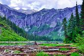stock photo of avalanche  - view of the Avalanche lake in Glacier National Park - JPG