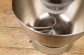 pic of food processor  - Steel bowl of a food processor with an attached dough hook - JPG