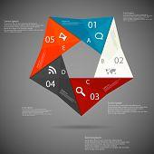 Постер, плакат: Pentagon Origami Infographic