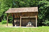 stock photo of sibiu  - sibiu romania ethno museum wood stone mill - JPG