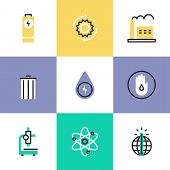 stock photo of recycling bin  - Flat line icons of world energy conservation global warming recycle bin clear water consumption power plant production - JPG