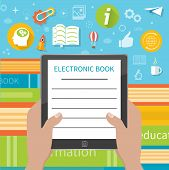 Постер, плакат: Stack of colorful books with electronic book