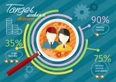 stock photo of chart  - Target audience infographic with magnifying glass and man and woman icon inside chart - JPG