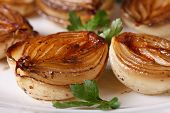 foto of vinegar  - delicious caramelized onions in balsamic vinegar on a white plate macro - JPG