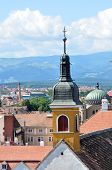 stock photo of sibiu  - Sibiu city Romania Catholic Church second tower architecture - JPG