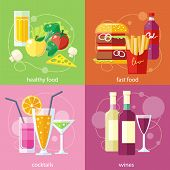 Постер, плакат: Cocktails health food fast food and vines