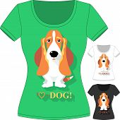 pic of hound dog  - Vector women T - JPG
