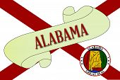 stock photo of alabama  - A scroll with the text Alabama with the flag of the state detail - JPG