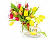 image of romantic  - yellow tulips flowers with cup tea on a white background - JPG