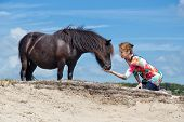 pic of pony  - Woman on knees feeding black pony in nature landscape with blue sky - JPG