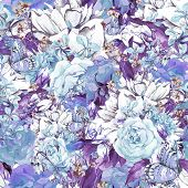 stock photo of blue rose  - Blue Floral Seamless Watercolor Background with Roses - JPG
