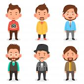pic of outfits  - A vector illustration of men avatars in different outfits - JPG
