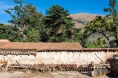 stock photo of hacienda  - Old colonial hacienda and farm tools in Tarma Peru - JPG
