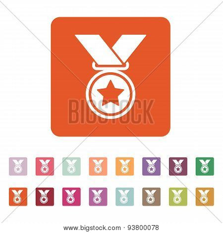 The Medal Icon. Prize Symbol. Flat