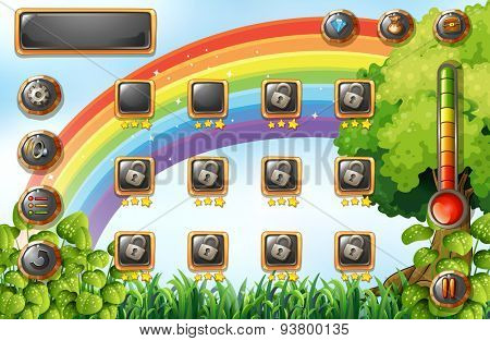 Game template with rainbow and field background