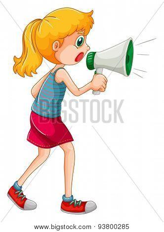 Cute girl speaking through speaker