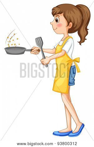 Cute girl frying something with the pan