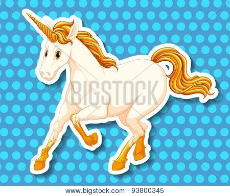 Single unicorn with golden horn and tail