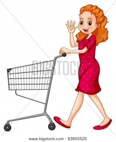 Woman in red dress pushing shopping cart