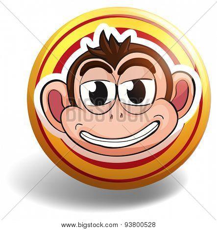 Silly monkey on round badge