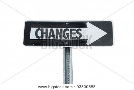 Changes direction sign isolated on white