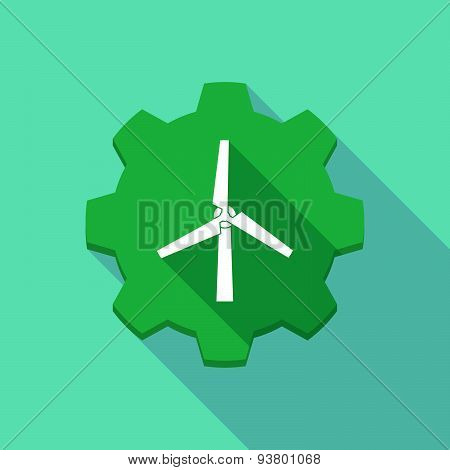Long Shadow Gear Icon With A  Wind Generator