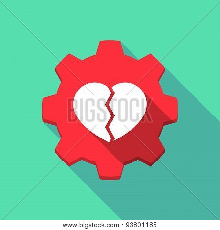 Long Shadow Gear Icon With A  Broken Heart