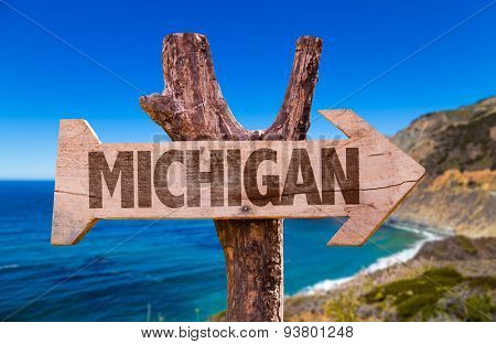 Michigan wooden sign with coastal background