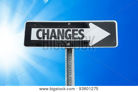 Changes direction sign with a beautiful day