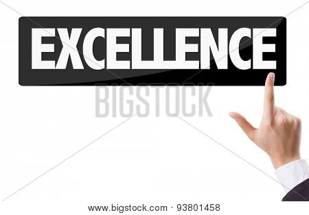 Businessman pressing button with the text: Excellence