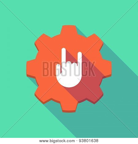 Long Shadow Gear Icon With A  Rocking Hand