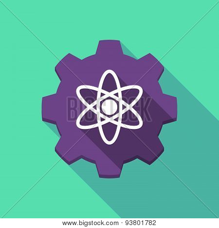 Long Shadow Gear Icon With An Atom