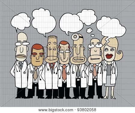 Team Of  Doctors Stand And Talk In Speech Bubbles