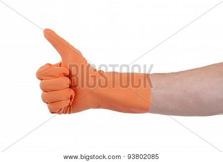 Orange Glove For Cleaning Show Thumbs Up