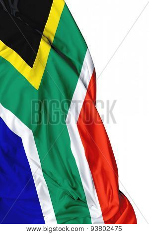 South Africa waving flag on white background