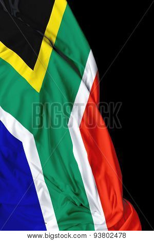 South Africa waving flag on black background