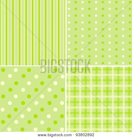 Set Of 4 Green Cute Background Patterns