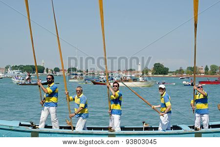Five Men With Oars At Attention