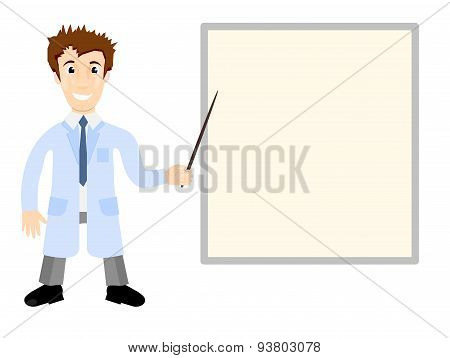 Vector Illustration - Doctor In Medical Gown Shows Pointer On The Poster