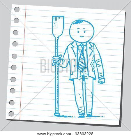 Businessman with oar