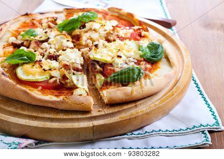 Courgette, Chicken And Feta Pizza