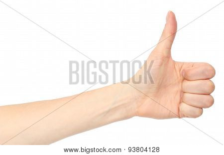 Hand Of Woman Showing Thumbs Up On White Background