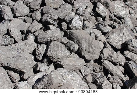 Stack Of Large And Black Coal Lumps Prepared For Winter