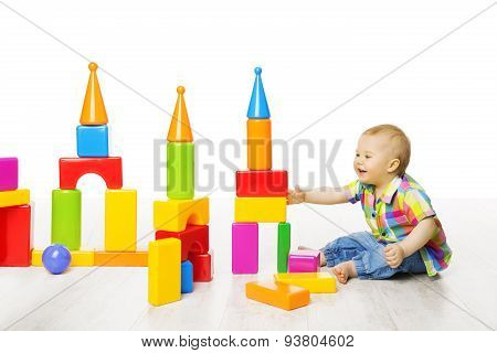 Baby Kid Play Block Toys Building, Child Boy Constructor Playing Bricks Game, Children Room