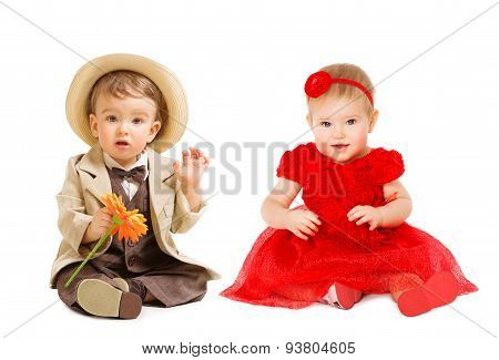 Babies Kids Well Dressed, Boy Suit Hat Girl Dress. Children Fashion Clothing