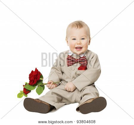 Baby Boy Flower, Kid Well Dressed In Suit, One Year Child With Rose Over White, Children Fashion