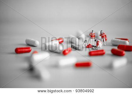 Rescue Team Providing First Aid. Drug Overdose Concept.