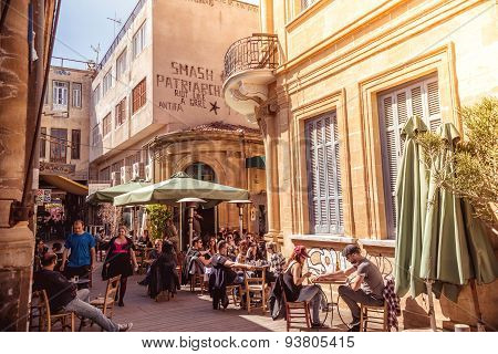 Nicosia - April 13 : People In Restaurants And Traditional Coffee Shops At Ledra Street On April 13,