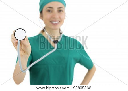 Woman Doctor Treating With Stethoscope
